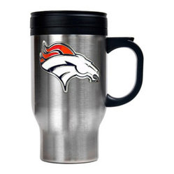 Great American Products - Denver Broncos NFL Stainless Steel Thermal Mug - This stainless steel thermal mug features thermal insulation to keep your beverage hot or cold. This is perfect for your Man Cave, Game Room, Office, or anywhere you want to show love for your favorite team. Decorated with a metal emblem.