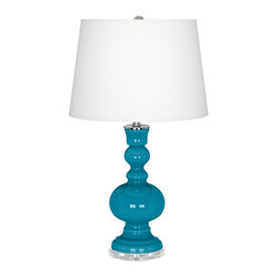 "Color Plus - Contemporary Caribbean Sea Apothecary Table Lamp - Designer Caribbean Blue Sea glass table lamp. White linen drum shade. Lucite base. Maximum 150 watt or equivalent bulb (not included). On/off switch. 30"" high. Shade is 14"" across the top 16"" across the bottom 11"" high.  Designer Caribbean Blue Sea glass table lamp.  White linen drum shade.  Lucite base.  Maximum 150 watt or equivalent bulb (not included).  On/off switch.  30"" high.  Shade is 14"" across the top 16"" across the bottom 11"" high."