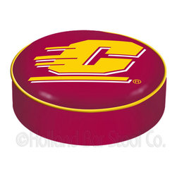 """Holland Bar Stool - Holland Bar Stool BSCCenMic Central Michigan Seat Cover - BSCCenMic Central Michigan Seat Cover belongs to College Collection by Holland Bar Stool This Central Michigan bar stool cushion cover is hand-made in the USA by Covers by HBS; using the finest commercial grade vinyl and utilizing a step-by-step screen print process to give you the most detailed logo possible. This cover slips over your existing cushion, held in place by an elastic band. The vinyl cover will fit 14"""" diameter x 4"""" thick seats. This product is Officially Licensed. Make those old stools new again while supporting your team with the help of Covers by HBS! Seat Cover (1)"""