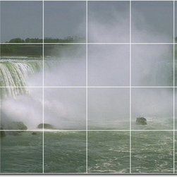 Picture-Tiles, LLC - Waterfalls Photo Custom Tile Mural 25 - * MURAL SIZE: 17x25.5 inch tile mural using (24) 4.25x4.25 ceramic tiles-satin finish.