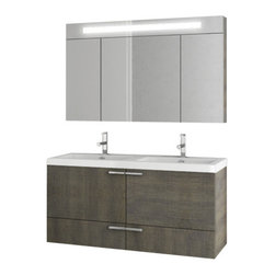 ACF - 47 Inch Grey Oak Bathroom Vanity Set - A designer bathroom vanity for your designer-quality master bath.