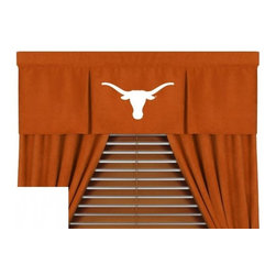 Sports Coverage - The University Of Texas Longhorns NCAA MVP Micro Suede Valance - Finish off the room in style with this great looking Texas Longhorns MVP Micro Suede Pleated Valance. A must have for any true fan. The MVP Micro Suede Collection is unique in its appeal to both young and more mature tastes. Sporting team colors with a soft leather looking stripe. The best part of this new look is its ultra soft and washable Polyester microsuede fabric which is perfect for bedding because it stays soft. Wash in cold water and tumble dry in low heat. Color fast and wrinkle-free. Has a 3 rod pocket and two even-spaced pleats.   Show your team spirit with this officially licensed 50 x 15 MVP valance. Appliqued team logo in center on official team-colored jersey, with the lance wearing the same smaller team logo as the sham, for a coordinated window play. Self lined. Drapery is sold separately.
