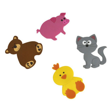 Set of 4 PVC Bath Mats Childish Pig/Bear/Duck/Cat Multicolor - This set of 4 children bath mats Childish is in PVC with a pig, a bear, a cat and a duck. Protect your children from slipping with these colored characters and stick them easily at the bottom of the bath tub with their suction cups. Measures: 3.54-Inch. Phthalate free PVC. Clean with warm soapy water. Color pink, grey, brown and yellow. Add a funny decoration in your bathroom and stimulate your child's senses while washing them clean! Complete your Childish decoration with other products of the same collection. Imported.
