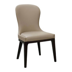 Coburg Dining Chair - Set of 2 - The delicate profile of a parlor chair comes alive in casual and contemporary form with this set of 2 Coburg Dining Chairs. A slender silhouette in an hourglass shape softens the ambience of a modern room and infuses a beautiful color offering a limitless set of decor options. Soft leatherette on the seat and back cushion fits snugly over a solid oak frame finished in gorgeous deep brown. Play with placement and accessorizing to create a remarkable customized look that defines you.