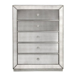 Z Gallerie - Omni Mirrored 5 Drawer Chest - Our Omni Collection demonstrates a striking use of style and restraint. While elegantly reflecting its surroundings this functional collection combines glamour with purpose. The clean lines of the cases are outlined in a hand applied silver leaf and silver beaded trim while the drawers are accented with a brushed silver hardware.