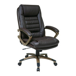 Office Star - Work Smart ECH Series ECH69601-EC1 Espresso Eco Leather Chair w/ Locking Tilt Co - Eco Leather Chair with Locking Tilt Control. Thick Padded Contour Seat and Back with Built-in Lumbar Support. One Touch Pneumatic Seat Height Adjustment. 360° Seat Swivel. Locking Tilt Control with Adjustable Tilt Tension. Padded  Arms. Eco Leather Espresso and  Cocoa Coated Base with Dual Wheel Carpet Casters.