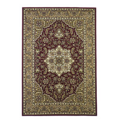 Cambridge 7326 Red/Beige Kashan Medallion Rug - Our Cambridge Series is machine-woven in China of heat-set polypropelene. This line features a current color palette in classic and transitional patterns providing a well-designed and durable rug at a very affordable price point. No fringe.