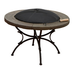 Great Deal Furniture - Sunset Fire Pit - Add light and warmth to your poolside, yard, or patio with this elegantly designed fire pit. The elegance of matte steel makes a perfect background for the timeless, hypnotic beauty of flickering flames, and wrought cast iron frame along with the ground stone ring add an extra charm to this true piece of art.