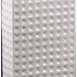 """Benzara - Square Shaped Ceramic Vase With Hammered Design in White (Small) - The Square Shaped Ceramic Vase With Hammered Design in White (Small) will give your home a fresh new look. Made from ceramic, the vase has a stylish square shaped body with a simple yet elegant contemporary design. Dressed in a lovely white shade, the ceramic vase is covered with dots from head to toe and bears a hammered design that is grand and simply eye candy. Use it as a standalone decor item or combine it with flowers and give your home a sprightly new look. The dimensions of the Square Shaped Ceramic Vase With Hammered Design in White (Small) are 6.5""""x2.75""""x9""""H. Ceramic; White; 6.5""""x2.75""""x9""""H; Dimensions: 7""""L x 3""""W x 9""""H"""