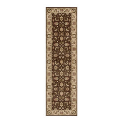 "Nourison - Nourison Somerset ST62 2'3"" x 8' Brown Area Rug 62681 - This rich pile rug boasts an elaborate design of leaves, blossoms and vines winding their way across a strikingly bordered background. A harmonious balance of beige, black, pink, crimson, ivory and pale blue with an intense patina adds an air of accessible elegance."