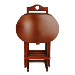 Oriental Furniture - Rosewood TV Tray Set - Honey - A fine quality set of honey stained oriental style TV trays, an elegant alternative to common metal drink or snack tables. Beautifully crafted from solid kiln dried Rosewood, the rich reddish hue and the lovely medium luster finish combine to create an exceptional set of wood tables, great for gatherings of friends or family. Provides a practical, durable table top great for food, drinks, crafting, or even typing on browsing on a laptop.