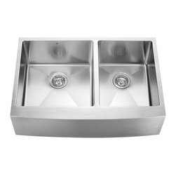 VIGO Industries - VIGO 33-inch Farmhouse 16 Gauge Double Bowl, Kitchen Sink, 2 Grids and 2 Straine - Give your kitchen a makeover starting with a VIGO stainless steel kitchen sink, matching grids and strainers set.