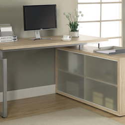 Monarch - Natural Reclaimed-Look in.Lin. Shaped Desk With Frosted Glass - This simple yet practical in. hollow-core in. desk is the perfect addition to your home office. The natural reclaimed wood-look finished desk can conveniently be placed on the left or right side offering you multi functionality. The underside provides you with space to store office supplies, papers, books, files folders, and plenty more behind beautiful frosted sliding glass doors. Use the spacious top for your computer, a lamp and even some pictures. This large work station will fit in perfectly into any space.