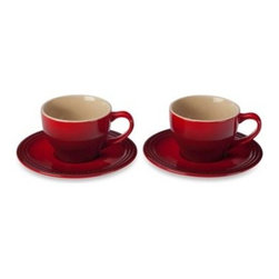 Le Creuset - Le Creuset Cappuccino Cups and Saucers Set in Cherry (Set of 2) - Enjoy a steaming cup of rich, full flavored coffee everyday with the durable and stylish Le Creuset Cappuccino Cups and Saucers Set. The premium stoneware set will instantly add a pop of color to your mornings with their vibrant cherry red color.
