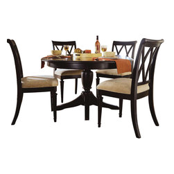American Drew - American Drew Camden-Dark 5 Piece Round Dining Room Set in Black - The Camden-Dark accents simple forms with quiet traditional references, gentle curves and a beautiful rustic black finish that lets the character of the wood show through. The brushed nickel finish hardware adds even more character to Camden. This collection will work great in most any setting. Create an urban rustic loft, a classic antique look or a mountain vacation home.