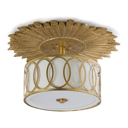 Kathy Kuo Home - Stanwyck Hollywood Mirror Glass Semi-Flush Ceiling Mount Fixture - If you're a fan of over-the-top in a good way, you will want this sunburst medallion ceiling fixture for your home. Entrance guests by placing it in your entryway or bedazzled by mounting it in your bathroom for a glitzy reminder of Hollywood nights.