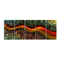 My Art Outlet - Metal Wall Art Decor Abstract Contemporary Modern Set Satin riverlet through O's - Satin riverlet through O's - 5 Piece Contemporary Handmade Metal Wall Art Set
