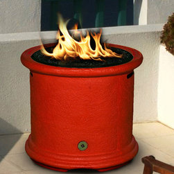 California Outdoor Concepts - Burnt Orange Island Fire Pit - If bright colors are your thing (like me) then adding this colorful gas firepit to your outdoor living area will be sure to impress you.  Fits into tropical and eclectic themes the best.