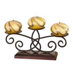 3 Candle Wood Runner Candle Holder-Candelabra - The runner itself is an intricate blend of wood and metal that rushes up to meet the three gold and yellow art-style swirl candles resting in the candle holders.