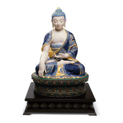 "Lladro Porcelain - Lladro Shakyamuni Buddha Golden Figurine - Plus One Year Accidental Breakage Rep - "" Sculpture of a large size seated Buddha. The mudra called Gesture of Witness performed with his right hand, pointing to the earth, is key to understanding the piece. It is made in white porcelain but enhanced with golden luster on the blue robe, inspired by the ancient images of the asian temples. Hand Made In Valencia Spain - Sculpted By: Jose Javier Malavia - Limited To: 1000 Pieces Worldwide - Included with this sculpture is replacement insurance against accidental breakage. The replacement insurance is valid for one year from the date of purchase and covers 100% of the cost to replace this sculpture (shipping not included). However once the sculpture retires or is no longer being made, the breakage coverage ends as the piece can no longer be replaced. """