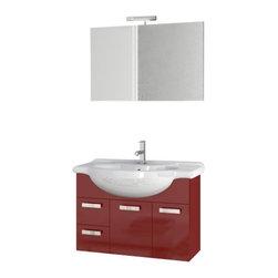 ACF - 32 Inch Glossy Red Bathroom Vanity Set - Set Includes: Vanity Cabinet (2 Doors,2 Drawers), high-end fitted ceramic sink, wall mounted vanity mirror.