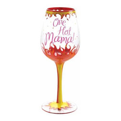 WL - One Hot Mama! Inscription Wine Glass with Decorative Flame Design - This gorgeous One Hot Mama! Inscription Wine Glass with Decorative Flame Design has the finest details and highest quality you will find anywhere! One Hot Mama! Inscription Wine Glass with Decorative Flame Design is truly remarkable.
