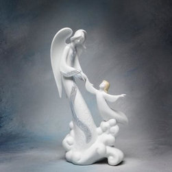 ATD - 9.5 Inch Angel Holding Child Flying on Cloud White Figurine - This gorgeous 9.5 Inch Angel Holding Child Flying on Cloud White Figurine has the finest details and highest quality you will find anywhere! 9.5 Inch Angel Holding Child Flying on Cloud White Figurine is truly remarkable.