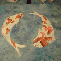 Faux Finishing, murals and hand painting - Interior Images faux finished patina with hand painted fish