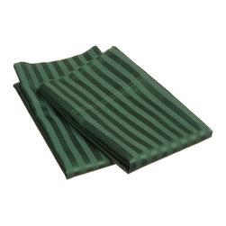 400 Thread Count Egyptian Cotton Standard Hunter Green Stripe Pillowcase Set - 400 Thread Count Egyptian Cotton Standard Stripe Hunter Green Pillowcase Set