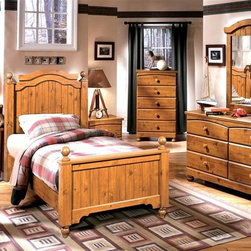 Signature Design by Ashley - 5 Pc Twin Poster Bed w Drawer Chest - Set includes Headboard, Footboard, Rails, Dresser, Mirror, Drawer Chest, and Nightstand. Color/Finish: Replicated Pine Grain. Replicated medium distressed country pine grain. Arched drawers and top rails. Bun feet on cases and beds. Plank patterns on headboards and footboards. Arched top mouldings. Side glided drawer system. Left side facing or right side facing storage steps options. Headboard: 46 in. W x 4 in. D x 55 in. H. Footboard: 47 in. W x 4 in. D x 31 in. H. Dresser: 57 in. W x 16 in. D x 33 in. H. Mirror: 32 in. W x 2 in. D x 49 in. H. Chest: 30 in. W x 16 in. D x 49 in. H. Nightstand: 22 in. W x 16 in. D x 25 in. H