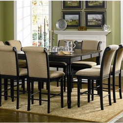 "Wildon Home � - Hamilton 9 Piece Counter Height Dining Set - Features: -Includes one counter height dining table and eight stools. -Traditional style. -Dark amaretto color table top. -Rich dark Cappuccino leg finish. -Turned legs. -Smooth top with leaf, and smooth edge with rounded corners and beading. Dimensions: -Counter Height Table: 36"" H x 60"" W x 60"" D. -Bar Stool: 44"" H x 22"" W x 26"" D."
