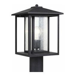 Sea Gull Lighting - 1-Light Post Lantern Black - 82027-12 Sea Gull Lighting Hunnington 1-Light Outdoor Post Lantern with a Black Finish