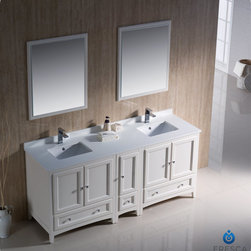 "Fresca - Fresca Oxford 72"" Traditional Double Sink Vanity Set w/ Side Cabinet - Blending clean lines with classic wood, the Fresca Oxford Traditional Bathroom Vanity is a must-have for modern and traditional bathrooms alike. The vanity frame itself features solid wood in a stunning mahogany finish that's sure to stand out in any bathroom and match all interiors. Available in many different finishes and configurations."