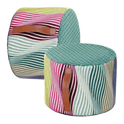 Missoni Home Aeonium Kigali 170 Modern Cylindrical Pouf/Ottoman - Missoni has a way with combining colors, so it's little wonder this pouf is done in such an inspiring palette. Use as extra seating or as a luxe spot to kick up your feet at the end of the day.