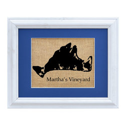 Fiber and Water - Martha's Vineyard Art - Pride and love of place is always stylish, especially when it's a place of great character and lore like Martha's Vineyard. This simple silhouette is printed in black onto natural burlap like a vintage agricultural sack, giving it a nostalgic charm. It's matted in a deep nautical blue to harmonize with coastal decor, and framed in whitewashed wood to complete the rustic-chic look.