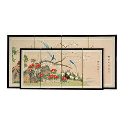 Oriental Unlimited - Birds & Flowers Silk Screen Room Divider (36 - Choose Size: 36 in. W x .63 in. D x 18 in. HScreens may vary slightly in color. Striking, with a pair of long tailed blue birds in flight and alight around a tree with white blossoms. Subtle and beautiful hand painted wall art for a fraction of the cost of a comparable print. Large hand painted ink and watercolor silk screen. Song dynasty (10th century China) brush art style. Can be displayed as a privacy screen. Can be folded partly to stand upright on a table or floor. Crafted from silk covered paper, glued over 4 side-by-side lacquered wood frames. Matted with a fine Chinese silk brocade border. Comes with lacquered brass geometric hangers for easy mounting. Note that no 2 renderings are exactly the same. Shown in 36 in. W x 18 in. H screen (in front). 36 in. W x 18 in. H. 48 in. W x 24 in. H. 72 in. W x 72 in. H