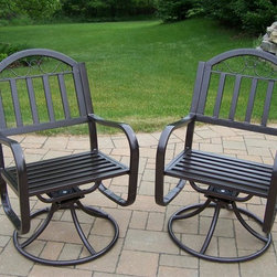 Oakland Living - Outdoor Swivel Chair - Set of 2 - Set of 2. Lightweight. Metal hardware. Fade, chip and crack resistant. Crisp and stylish traditional straight pattern. Warranty: one year limited. Made from durable tubular iron. Hammer tone bronze hardened powder coat finish. Minimal assembly required. 21.5 in. W x 23 in. D x 34 in. H (32 lbs.)The Oakland Rochester Collection combines practical designs and modern style giving you a rich addition to any outdoor setting. Each piece is hand cast and finished for the highest quality possible.