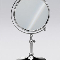 """Windisch by Nameeks - Stand Makeup Mirror - Begin with this decorative magnified mirror. Free standing and available in chrome, gold, or chrome and gold, this brass cosmetic mirror will fit perfectly into a modern & contemporary master bathroom. Features: -Makeup mirror. -Stand Mirrors collection. -Contemporary style. -Round shape. -Free standing. -Double Face. -Extendable. -3x Magnification. Specifications: -Overall Dimensions: 14.57"""" H - 16.54"""" H."""