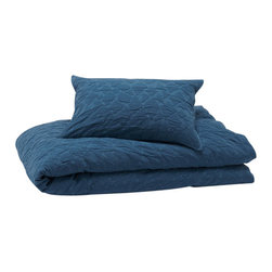 Coyuchi® - Coyuchi® Cotton Mache Duvet Cover, Mid Ocean Blue, Full/Queen - This is matelassé as only Coyuchi could do it—relaxed and organic. Woven from pure cotton, in a free-form pattern that evokes water flowing over rocks, it's stone washed for a supple hand and great, puckered texture. Backed with organic cotton percale so it's the perfect year-round weight.