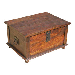 Sierra Living Concepts - Primitive Rustic Wood Storage Trunk Coffee Table - Multi-purpose Rustic Solid Hardwood Trunk. This Trunk is multi-functional and looks great in almost any room.