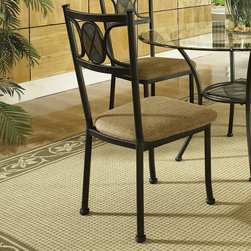 "Steve Silver - Carolyn Welded Side Chairs - Set of 4 - The Carolyn Welded Side Chairs are an excellent addition to your kitchen or dining room. These chairs provide decorative accents like a faux slate medallion, a rich black finish, and a durable chenille seat cushion.;Features: Metal Base/Microfiber Cushion;Contemporary Style;Sturdy gauge metal;Welded 1 pc. Frame;18"" Seat Height;Weight: 26.5 lbs.;Dimensions: 21""L x 18""W x 38""H"