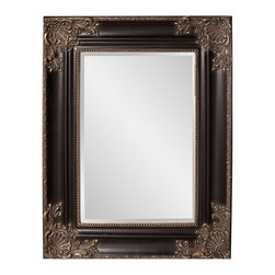 Howard Elliott - Regency Mirror - Our Regency mirror is finished in a black semi-gloss and features warm antique silver accents.