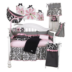 Cotton Tale Designs - Girly 8pc Crib Bedding Set - Girly 8pc crib bedding set by Cotton Tale Designs is in soft pink and black. This set is perfect for a girl's nursery with its sweet, bright pink dot trims and contemporary floral fabrics.