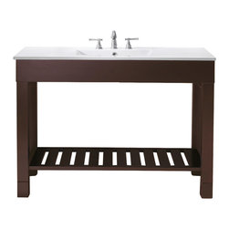 """Avanity - LOFT 48"""" Vanity Only (Dark Walnut) - LOFT 48"""" Vanity Only (Dark Walnut); Vanity only in dark walnut finish; 2 doors; Birch solid wood and birch veneer; Stainless steel towel bars; Open slatted shelf; Adjustable height levelers; Top, sink and faucet not included.; Dimensions: 48W x 21.5D x 34H inches"""