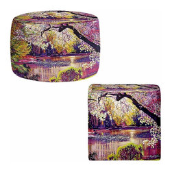 DiaNoche Designs - Ottoman Foot Stool  - Central Park Spring Pond - Lightweight, artistic, bean bag style Ottomans. You now have a unique place to rest your legs or tush after a long day, on this firm, artistic furtniture!  Artist print on all sides. Dye Sublimation printing adheres the ink to the material for long life and durability.  Machine Washable on cold.  Product may vary slightly from image.