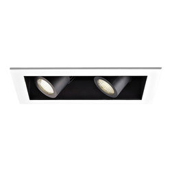 """WAC - WAC 20 Degree 3000K LED Recessed Housing Double Spot Light - Offer a smooth finished look to your ceilings with this 3000K LED recessed housing designed for new construction projects. A white finish trim surrounds the black housing which holds two dimmable spot lights with a 20 degree beam spread. For non-insulated ceilings. ENERGY STAR® rated. ETL and cETL listed. Compatible with WAC recessed lighting products. 4"""" WAC new construction double spot light recessed housing. 20 degree beam spread. Color temperature is 3000K. Includes two 16 watt LEDs. Light output is 1100 lumens per light. Comparable to two 75 watt MR16 bulbs. Bulbs average 50000 hours at 3 hours a day. 100 percent to 10 percent dimming. CRI is 85. 120 to 277 volts. ENERGY STAR® rated. For non-insulated ceilings. 19 5/8"""" wide. 6"""" high.  4"""" WAC new construction double spot light recessed housing.  20 degree beam spread.  Color temperature is 3000K.  Includes two 16 watt LEDs.  Light output is 1100 lumens per light.  Comparable to two 75 watt MR16 bulbs.  Bulbs average 50000 hours at 3 hours a day.  100 percent to 10 percent dimming.  CRI is 85.  120 to 277 volts.  ENERGY STAR® rated.  For non-insulated ceilings.  19 5/8"""" wide.  6"""" high."""