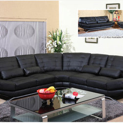 Modern Black Bonded Leather Sectional Sofa Corner Couch Tuft Back Seat - Features