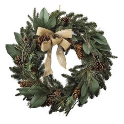 Home Decorators Collection - Burlap and Pine Wreath - The Burlap and Pine Wreath is decorative faux greenery that will accent your home decor for the holidays. The wreath includes mixed pinecones and leaves and a bow made of burlap. The faux leaves and pinecones provide lifelike realism. Includes 210 tips. Made for use every holiday season.
