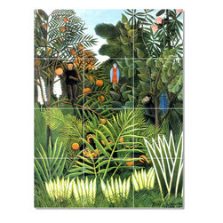 Picture-Tiles, LLC - The Jungle Tile Mural By Jean Jacques Rousseau - * MURAL SIZE: 24x18 inch tile mural using (12) 6x6 ceramic tiles-satin finish.