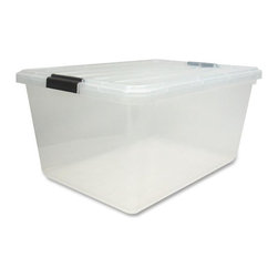 Iris - Iris Stackable Storage Box With Lid, 11 Gal - Stackable storage box is made of high-quality clear polypropylene for strength, durability and easy viewing of contents. Storage box features snap-down buckles for secure handling.